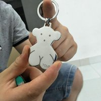 bad keys - 2016 New Arrival Fashion key Chain Stainless Steel Silver Plated Lovely Bear Key Chain Unisex To Ward Off Bad Luck Lucky Small Pendant