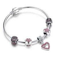 Wholesale 2016 Pandora Bracelets DIY Jewelry Silver Silver Fine Crystal European Charm Beads Pink Sweet Warm Range For Woman