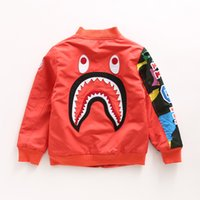 Wholesale 2016 brand baby boy korean design spring embroidery shark head baseball jackets stand collar coat kids windbreaker T0827