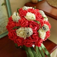Wholesale 2016 Hot Sale Wedding Bridal Bouquets with Handmade Flowers Artificial Bridesmaid Flower Rose Wedding Supplies Bride Holding Brooch Bouquet