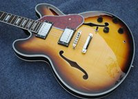 Wholesale OEM handcrafted guitars semi hollow body rosewood fingerboard sunburst color Jazz s electric guitar