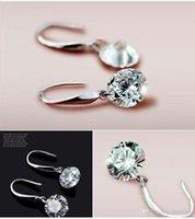 Wholesale Women Austrian Crystal Drop Korean Zircon Bridal Earrings Big Fashion Wedding Dangle Earring Gift Luxury Jewelry Y047