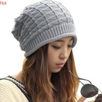 adult beanie crochet pattern - Unisex Wool Winter Beanies Women Men Crochet Knit Beanie Skull Cap Plaids Triangle Pattern Hat Reversible Black Grey Coffee Beige Hot