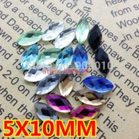 Wholesale 500pcs x10mm Flat Back Navette Fancy Crystal Stones Marquise Chessboard Glass Stones Cobalt Crystal Aquamarine More Color
