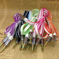 Wholesale High Quality Flat Noodle mm Aux Audio Auxiliary Cable M FT Double Color Cable Jack Male to Male