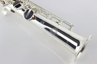 Wholesale Professional B the soprano saxophone gold straight on the surface of nickel plating soprano sax Nickel Plated