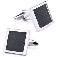 Wholesale Support Pair Retail Men Jewelry Wedding Dresses Cuff lniks Rhodium Plated Base Barss With Enamel Carbon Fiber Trendy Sqaure Pattern