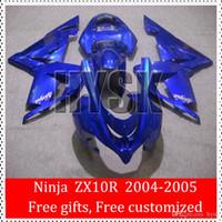 bicycle fairings - Sportbike Fairings Of Kawasaki Ninja ZX R ZX R ZX10R Total Blue Glossy Racing Bicycle Fairing Kits OEM Quality