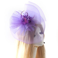 Wholesale Handmade Women Clip Fascinator Veil Hat Feather Hair Accessory Burlesque Ascot Racing Party Bridal Wedding colors to choose