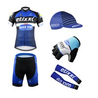 arm clothes - QuickStep Etixxl Cycling Jerseys Short Sleeves With Gloves Arms And Caps Bike Wear Size S XL Close Fitting Bicycle Clothing