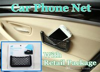 Wholesale Car Storage Nets Resilient Vehicle String Bag Phone holder for iphone and samsung Auto Pocket Organizer
