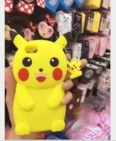 Wholesale 3D Poke Pikachu Cases For IPhone S S Plus SE S Stereo Silicone Cartoon Monster protection Cover