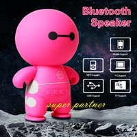 Wholesale A9 Mini Wireless Bluetooth Speaker BayMax Subwoofer TF Card USB Aux input Music Player For Kids adult Cartoon Figure Speaker for Cell Phone