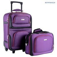 Wholesale 2PC Lightweight Carry On Luggage Set Tote Bag Expandable Suitcase Purple Rolling