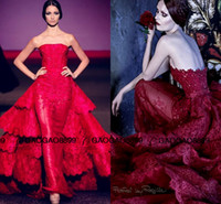 art deco print woman - 2016 Michael Cinco Red Ball Gown Evening Dresses Lace Appliques overskirt Sheer Tulle Dress With Tiered Ruffles Formal Women prom Gown