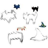 bat cookie cutter - DHL Halloween Series Bat Cat Wizzard Hat Teeth Shape Cookie Cutter Cookie Moulds Biscuit Baking Tools Stainless Steel