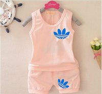 Wholesale Vestidos New Summer Style Boys Girls Clothing Set Kid Sleeveless Bebes T Shirt Shorts Tracksuits Brand Children Clothes