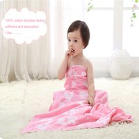 Wholesale New Arrival Muslin Cotton INS Baby Swaddles Newborn Baby Blankets Double Layer Gauze Bath Towel Hold Wraps