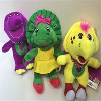 barney puppet - 3PCS Set Tyrannosaurus Rex Brinquedos Barney Purple Dinosaur Plush Soft Stuffed Toy cm Doll Kids Christmas Birthday Gift MK209