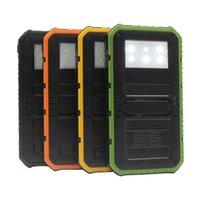 Wholesale 20000mAh Novel solar Power Bank Ultra thin Highlight LED Solar Power Banks A Output Cell Phone Portable Charger Solar Powerbank Free ship