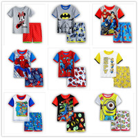 baby cotton sleepwear - 6 Sets Children Baby Boy s Girl s Kids Superman Spider Man Batman Despicable Me Shorts Sleeve Pajamas Suit Sleepwear Homewear Pyjamas