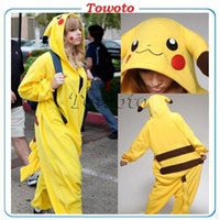 Wholesale Pikachu Outfit Pajamas fashion Cosplay Costume hoody Kigurumi Pyjamas Onesies Unisex Romper Anime Costumes poke mon gaming fancy sleepware