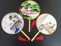 antique ladies fans - Chinese Old Palace Fans Handmade Round Classic Craft Gift Painted Silk Fan Handle Lady Fan