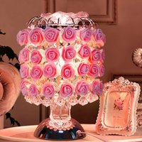 arts control desks - 1 piece Creative pink rose crystal table lamp Touch control roses desk lamp European style marriage room romantic adornment