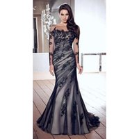 Wholesale Elegant Long Sleeves Mermaid Evening Dresses Crew Sheer Neck Black Lace Appliques Plus Size Formal Prom Party Gowns