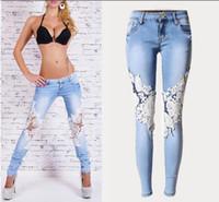 Wholesale 2016 Women Low Waist Lace Patchwork boot cut jeans Boyfriend Skinny Denim Pencil Pants Plus size distressed Robin jeans for women
