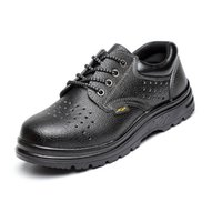 steel toe cap - Black men women work safety shoes leather big size steel toe cap shoes outdoor summer footwear