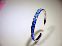 Wholesale Retail Fashion Inches Fine Blue Fire Opal Bangles Sterling Sliver Jewelry For Women _DSC305
