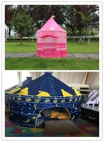 Cheap 2 Colors Portable Foldable Play Tent Prince Folding Tent Kids Children Boy Castle Cubby Play House Kids Gifts Outdoor Toy Tents