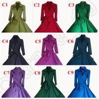 Wholesale Vintage s s Audrey Hepburn Street Style Coat Dress Rockabilly Pinup Check Evening Prom Swing Dress with Waistband Colors LJJJ88