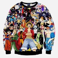 Wholesale Anime Characters Crewneck Pullovers One Piece Monkey D Luffy Dragon Ball Z Goku Naruto D Sweatshirt Long Sleeve Outerwear