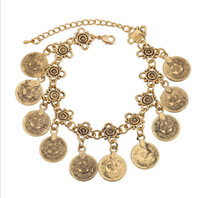 Bohemian ancient gold coins - European and American retro coin tassel bracelet sets Fashion jewelry alloy plating Ancient gold Antique silver Fashion jewelry accessor