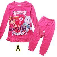 pajamas for children - 4 Designs Kids Dog Paw pajamas for children girls pajamas long sleeve t shirt top pants pajamas sets sleepwear sets LA244