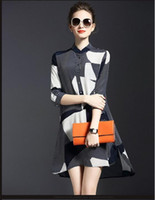 adult plaid skirt - A word posed new spring fashion women s clothing loose silk skirt striped black and white ash patchwork dress lapels