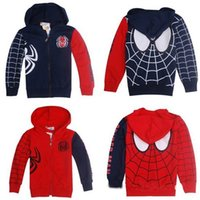 Wholesale Kids Spiderman Sweaters - Children clothes, kids Spiderman modeling hoodies tops Sweater   boys long-sleeved zipper hoodie jacket, 5pcs lot, dandys