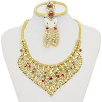 Bracelet,Earrings & Necklace beautiful african american women - 2016 new beautiful fashion women K gold plated colorful crystal jewelry Dubai Africa Turkey Saudi female jewelry