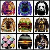 hoodies wholesale - Free DHL sale hoodies sweatshirts Space print Galaxy hoodies Sweaters Pullovers panda tiger cat animal D Sweatshirt Tops T Shirt