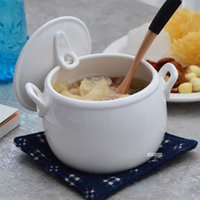 Wholesale Ceramic tableware with pure white stew soup bowl cover water in bird s nest soup Seminal Hotel binaural wing cup