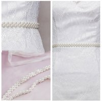 Wholesale White Pearls Ivory Pearls Luxury Bridal Sashes Wedding Dress Belts White Color Satin Style