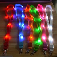 Wholesale Hot sale Multi colors Led Flashing Lanyard ID Card Pendant Hanging Cord For Party
