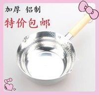 aluminum sauce pot - High quality wooden handle snow thickened aluminum pan Japanese sauce pot soup juice milk pot