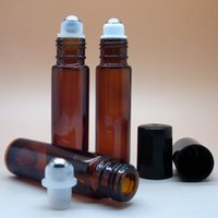 Wholesale 10ml oz molded amber roll on Perfume bottle ml Stainless steel beads roll on Glass bottles by DHL