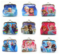 Wholesale 3D Cartoon Frozen anna elsa Coin Purse with iron button shell bag wallet Purses children Birthday Gifts A0510018