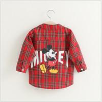 Wholesale Girl Mickey Shirt Fashion New Children Cartoon Mickey Mouse Shirts Girls Long Sleeve Plaid Shirt Baby Girl Autumn Shirt Kids Clothing