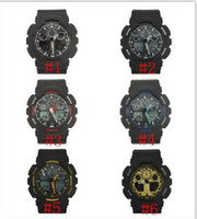 Wholesale new arrivel fashion colorful silicone sports g ga100 watch Double movement LED watch can choose color