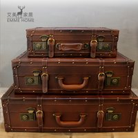 Wholesale Nordic retro leather box portable wooden props box store photography window display decoration